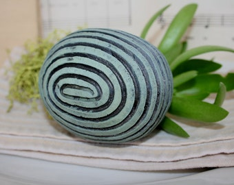 Decorative ceramic sphere with carved spiral motif. Egg, ball, wedding favor, Easter, center piece.49