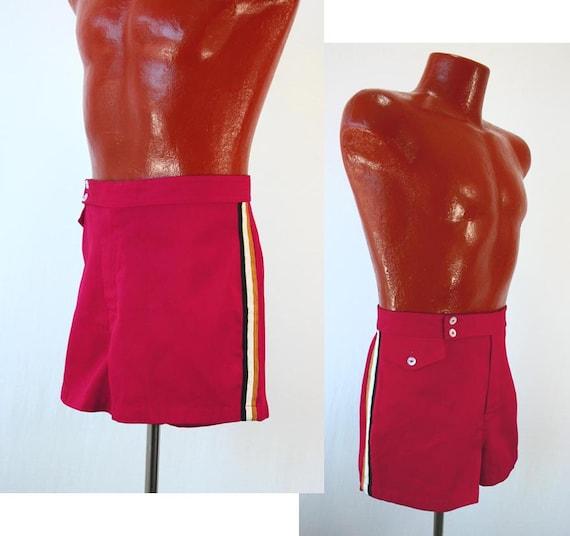 Vintage 50s Mens Shorts Swim Trunks Swimsuit Red Gabardine Twill Black White Gold Stripes Change Pocket 1950s Men Bathingsuit