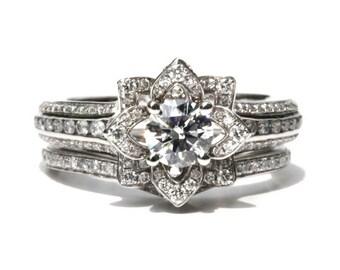 Wedding Set - Gorgeous UNIQUE Flower Rose Diamond Engagement Ring and Wedding band set - 2.35 carats - 14K white gold - custom made - fL01-S
