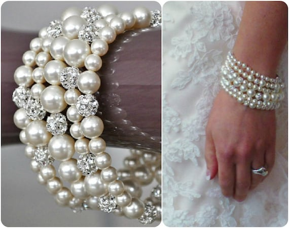 Pearl Cuff Bracelet, Chunky Wedding Bracelet, Rhinestone Pearl Bracelet. Swarovski Bridal Bracelet
