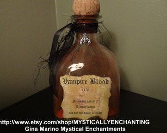 SALE Large glass Vampire Blood Bottle