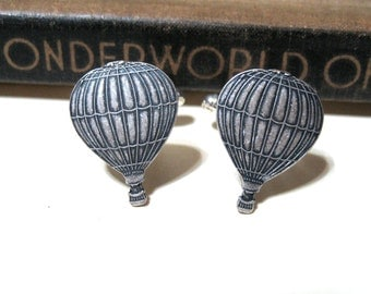 SALE Hot Air Balloon Cuff Links - Antiqued Silver - Fly Away with Me - Steampunk - World's Fair - Victorian - Soldered CLEARANCE