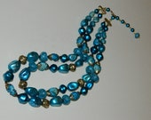 vintage costume double stranded brilliant teal beaded necklace   1d1