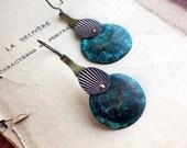 Metal drops earrings - blue patina copper - distressed metal - bronze urban earrings