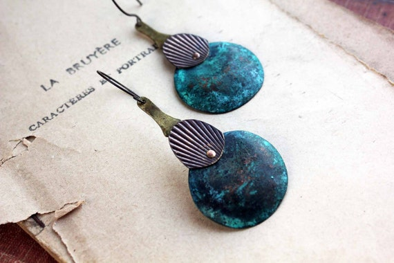 Metal drops earrings - blue patina copper - distressed metal - bronze urban earrings