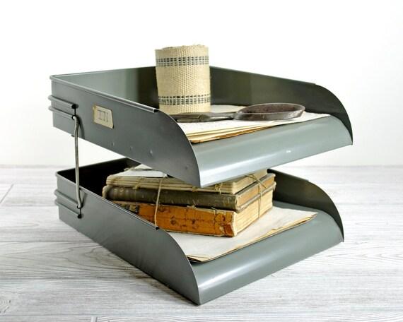 Vintage Mid Century Metal Desk File / Metal Office File / Office Decor