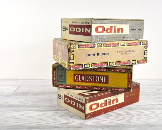 Vintage Cigar Box Collection / Industrial Decor