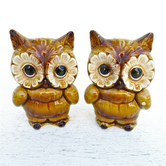 Vintage lefton owls salt and pepper set - Owl salt and pepper grinders ...