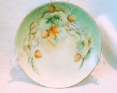 Vintage Made In Japan Hand painted Plate Green Floral Signed
