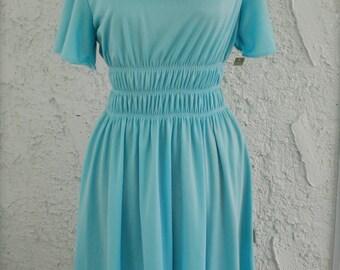 Vintage 1970s Sky Blue Full Skirt Day Dress - Deadstock - sz S/M