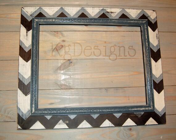 16x20 Multicolored Chevron print frame distressed with trim