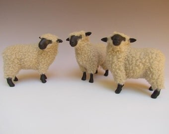 Porcelain Woolly Sheep Figure, English Oxford Sheep