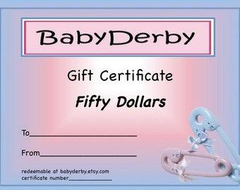 BabyDerby Gift Certificate 50.00 - Perfect Christening Gift