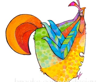 Chicken Superior, Colorful hen print