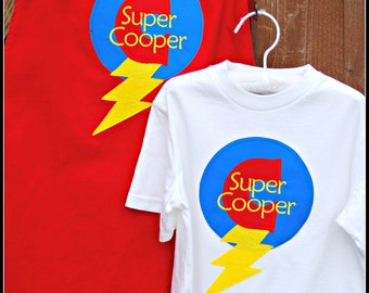 Custom Made EMBROIDERED and Personalized SuperHero Cape and Matching Shirt