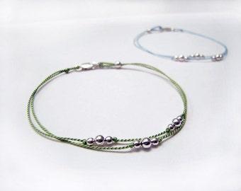 Friendship Bracelet - Dainty Bracelet - Simple Bracelet - Charm Bracelet - Circlet Bracelet - Silver Ball Cluster Trio #1-020