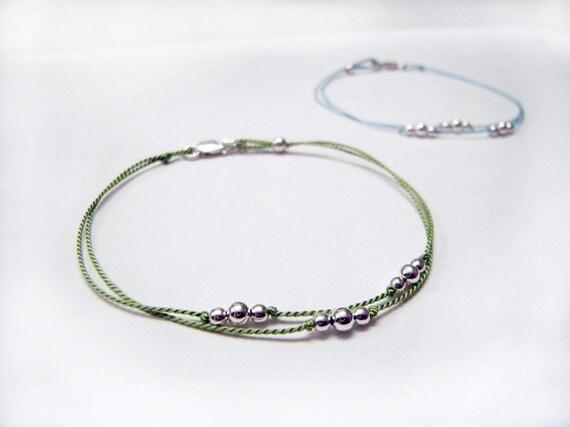 Friendship Bracelet - Dainty Bracelet - Simple Bracelet - Charm Bracelet - Circlet Bracelet - What Binds Us - Sage Green