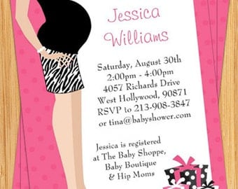 Pink Tummy Baby Shower Invitation - Print Yourself