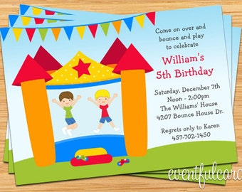 Bounce House Birthday Party Invitation for Boy - Printable