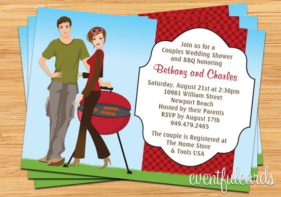 details invite the guests for a couples bbq wedding shower - Couple Wedding Shower Invitations