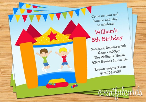 bounce house birthday party invitation for boy  printable by, Birthday invitations