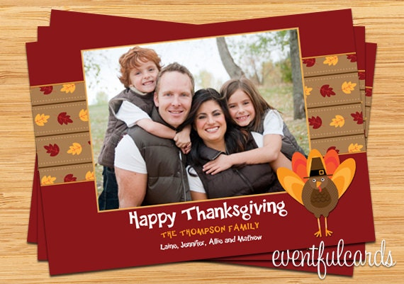 Customizable Thanksgiving Turkey Family Photo Card - Printable