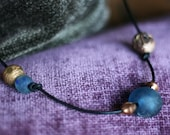 Blue glass and vintage African beads necklace