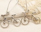 Antique Silver Bicycle, Bike Dangle Earrings