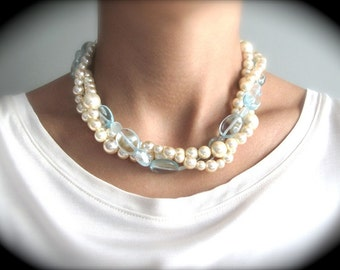 Aqua Marine and Ivory Pearl Twisted Necklaces