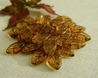 Leaf Beads Czech Glass Leaf Beads Transparent Topaz with Brown Mottled Picasso 12X7mm (25pcs) NEW