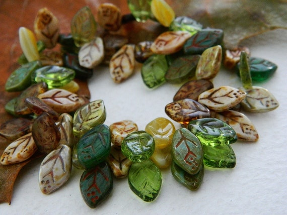 Leaf Beads Czech Glass Beads Brown Green & Olive Mix 12X7mm (36pcs)
