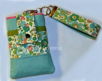Aqua Pink Jade Green Floral Optional  Phone Case with Wristlet Back Zipper Pocket iPhone 6 Plus Samsung Galaxy Xperia LG Smartphone