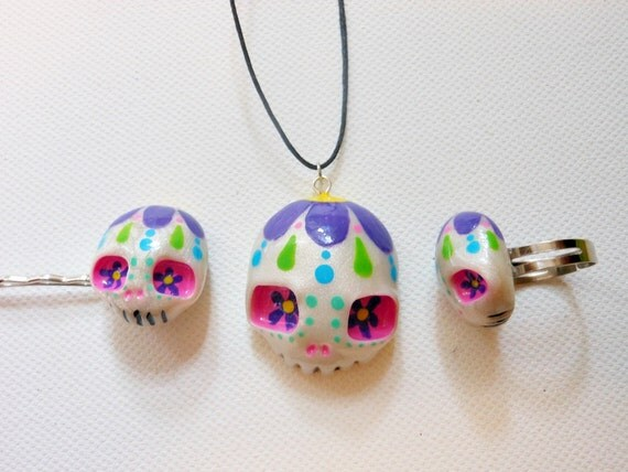 RESERVED LISTING Sugar skull necklace, ring, and hairpin set