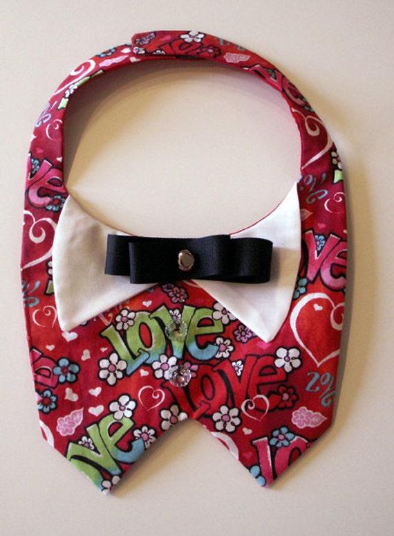 Valentine Dog Vest, Love, Hearts, Tuxedo, bowtie