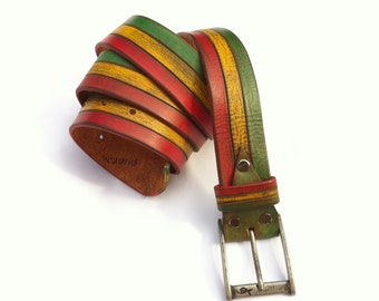 for father Gift for men Red Yellow Green Rastafarian Leather Belt Inspired Bob Marley Style Belt, rastafarian clothing,