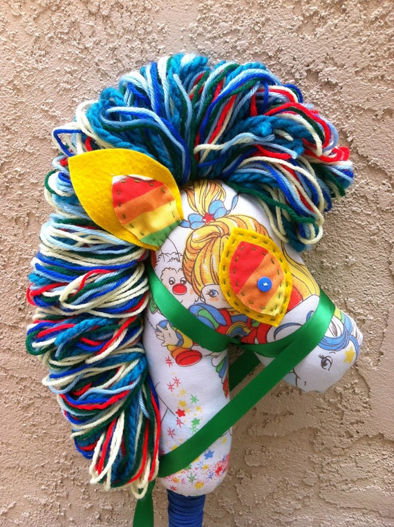 Rainbow Brite hobby horse stick pony, upcycled, recycled, ManelyRecycled