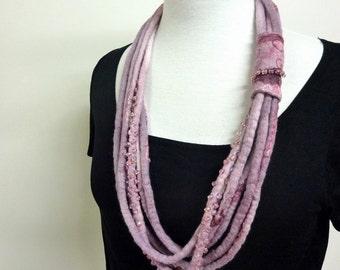 Fiber Art Necklace - Multistrand Necklace - Beaded Chunky Necklace - Amethyst