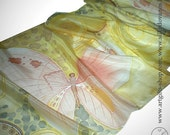 Hand painted Silk scarf  with Butterflies for woman