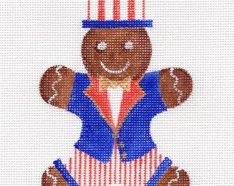 Gingerbread Uncle Sam Needlepoint Ornament - Jody Designs  G5