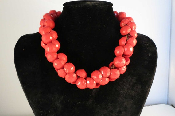 Chunky RED Vintage Celluloid Necklace