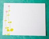 Letterpressed Notecards - Pink Flowahs