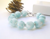 Ice Blue Larimar Bracelet with Larimar round beads gift for her