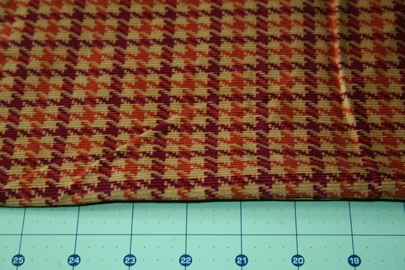 Vintage Corduroy Fabric houndstooth plaid cotton corduroy Rust scarlet tan brown 1950s 36 inch wide apparel decor Fabric 1.5 yds