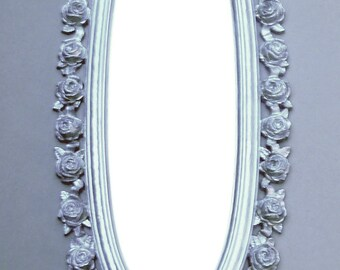 Roses and Ribbons . . . Iridescent White Gold  Vintage SYROCO Mirror . . . Pretty is Pretty . . .