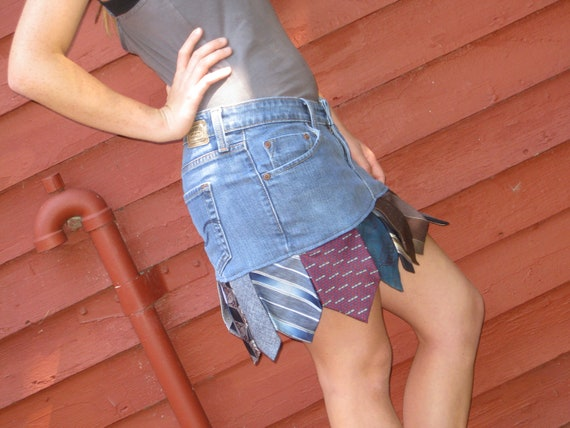 Blue Jeans Tie Skirt Upcycled Clothing Levis Low Rise Eco Gift