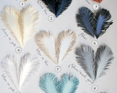 Handmade Feathers of iridescent white SHINING paper - set of 15 / or choose your color