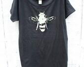Womens Bee shirt - Eco-Friendly - Womens Honey Bee T-shirt - Grey - Organic shirt - Small, Medium, Large, XL- Clothing