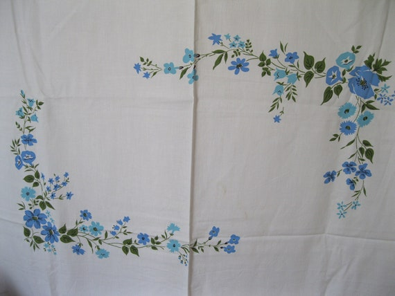 3.16 YARDS Vintage Percale Blue Flowers Roses Pillowcase Border Cotton Fabric