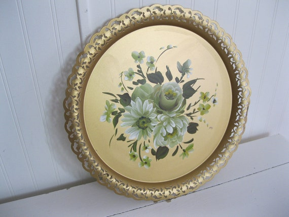Sale...Sweet Vintage NASHCO Metal Floral Toleware Tole Tray Hand Painted Flowers