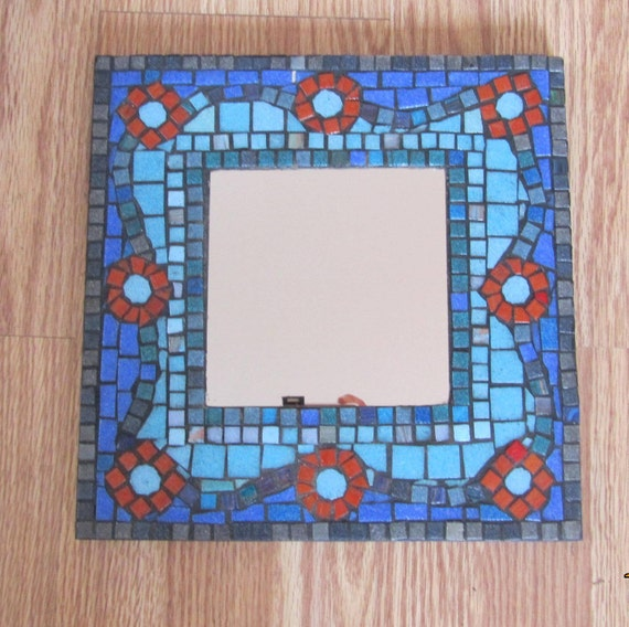 Blue Pattern Mosaic Mirror